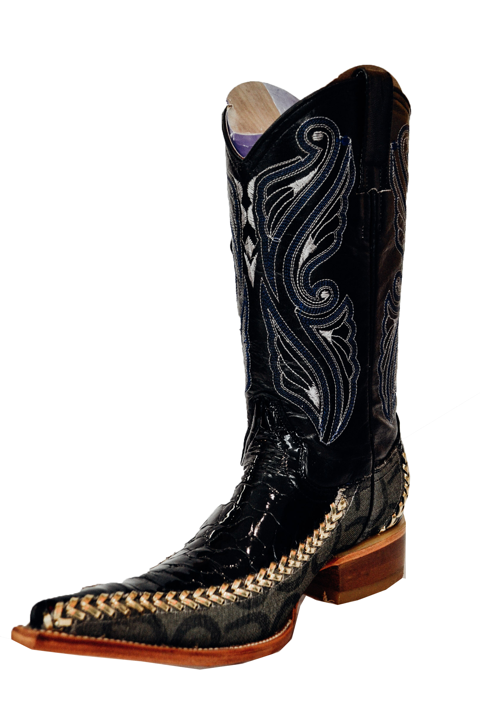 Gold boots png. Sleek black with side