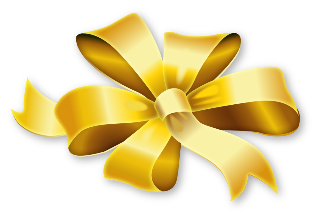 Golden ribbon png. Bow gift