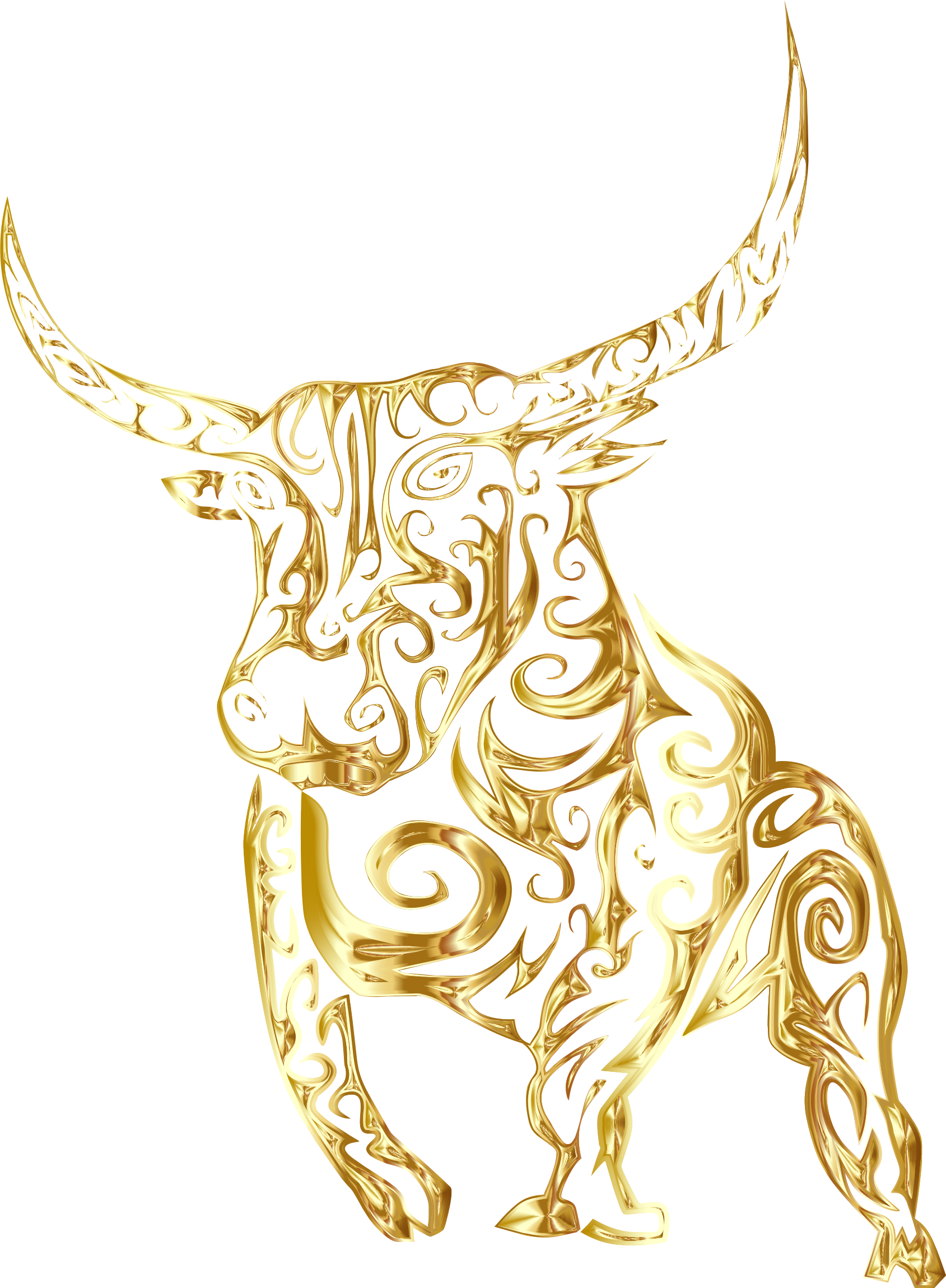 Gold bull png. Clipart tribal line art