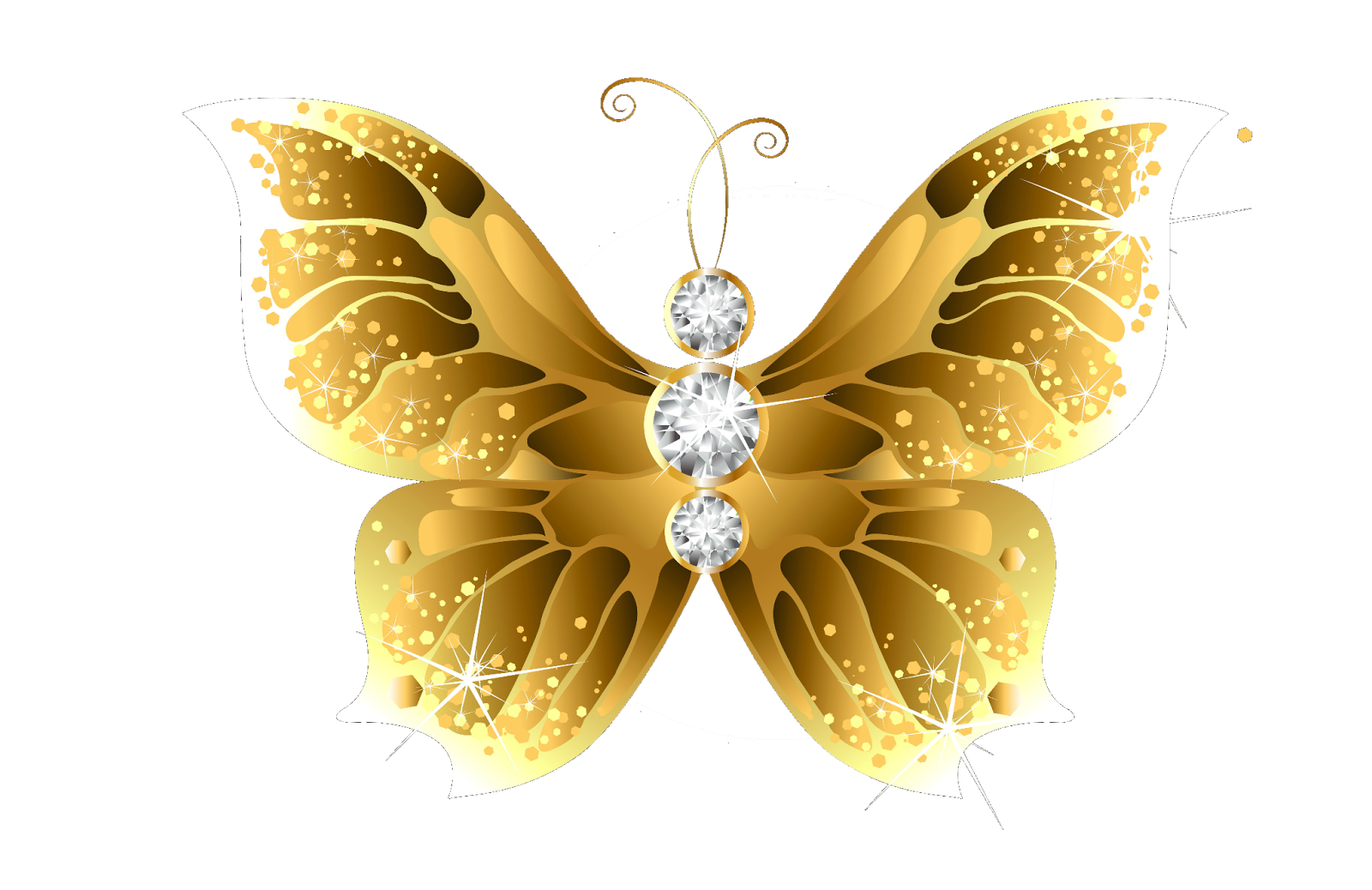 Gold butterflies png. Cliparts