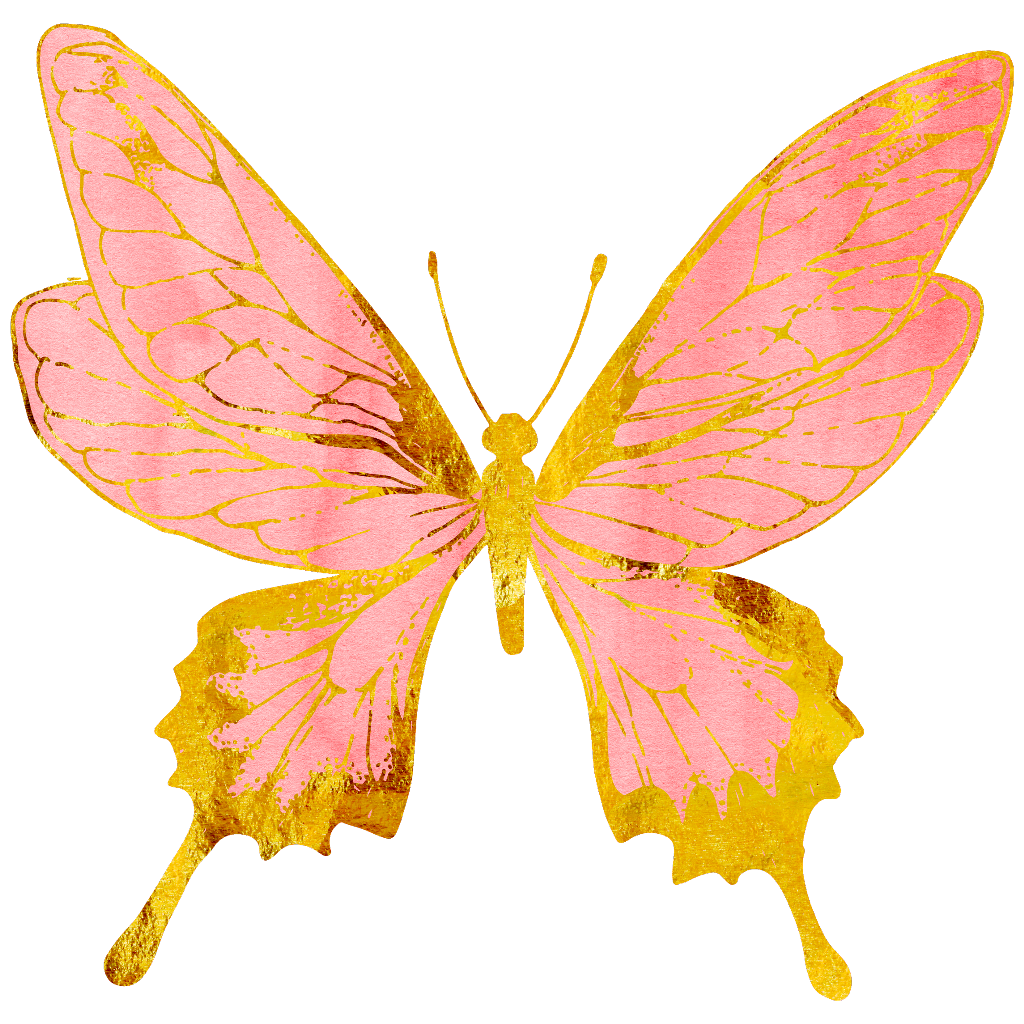 Gold butterflies png. Butterfly pastel pink rosegold