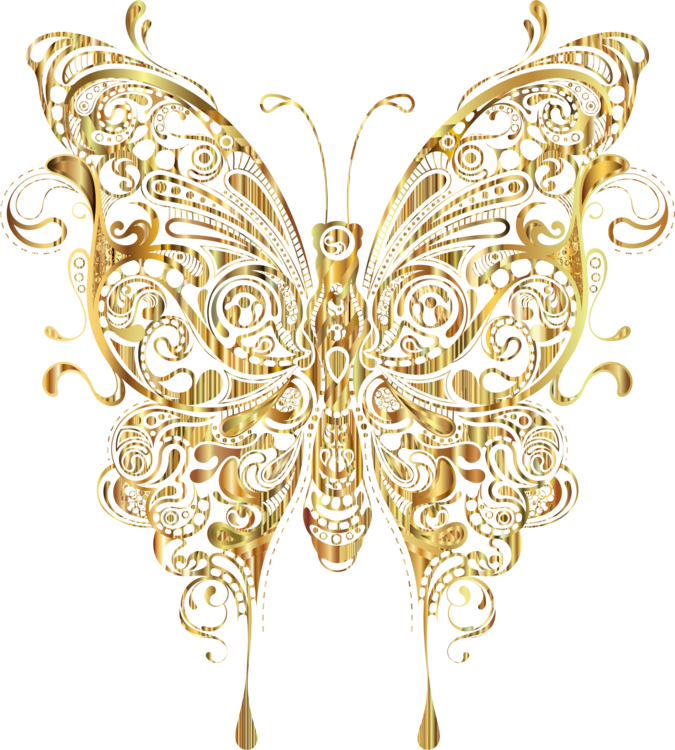 Gold butterflies png. Brush footed butterfly insect