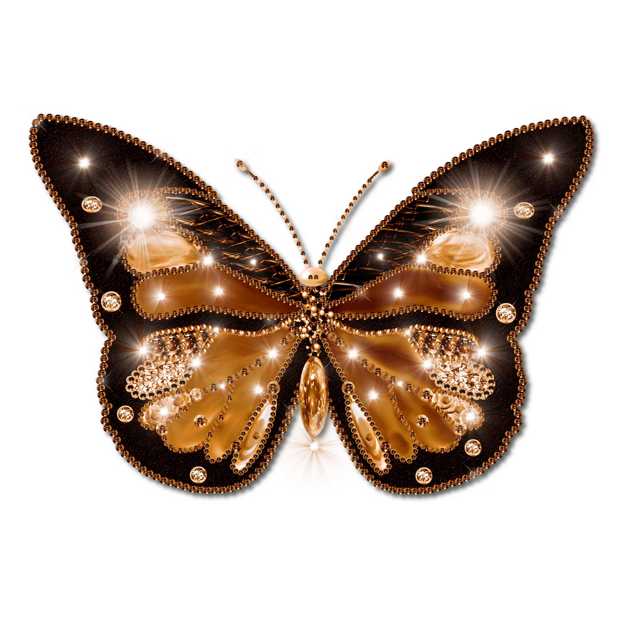 Gold butterflies png. Decorated butterfly deep by