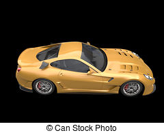 Gold car. Rims concept illustrations and