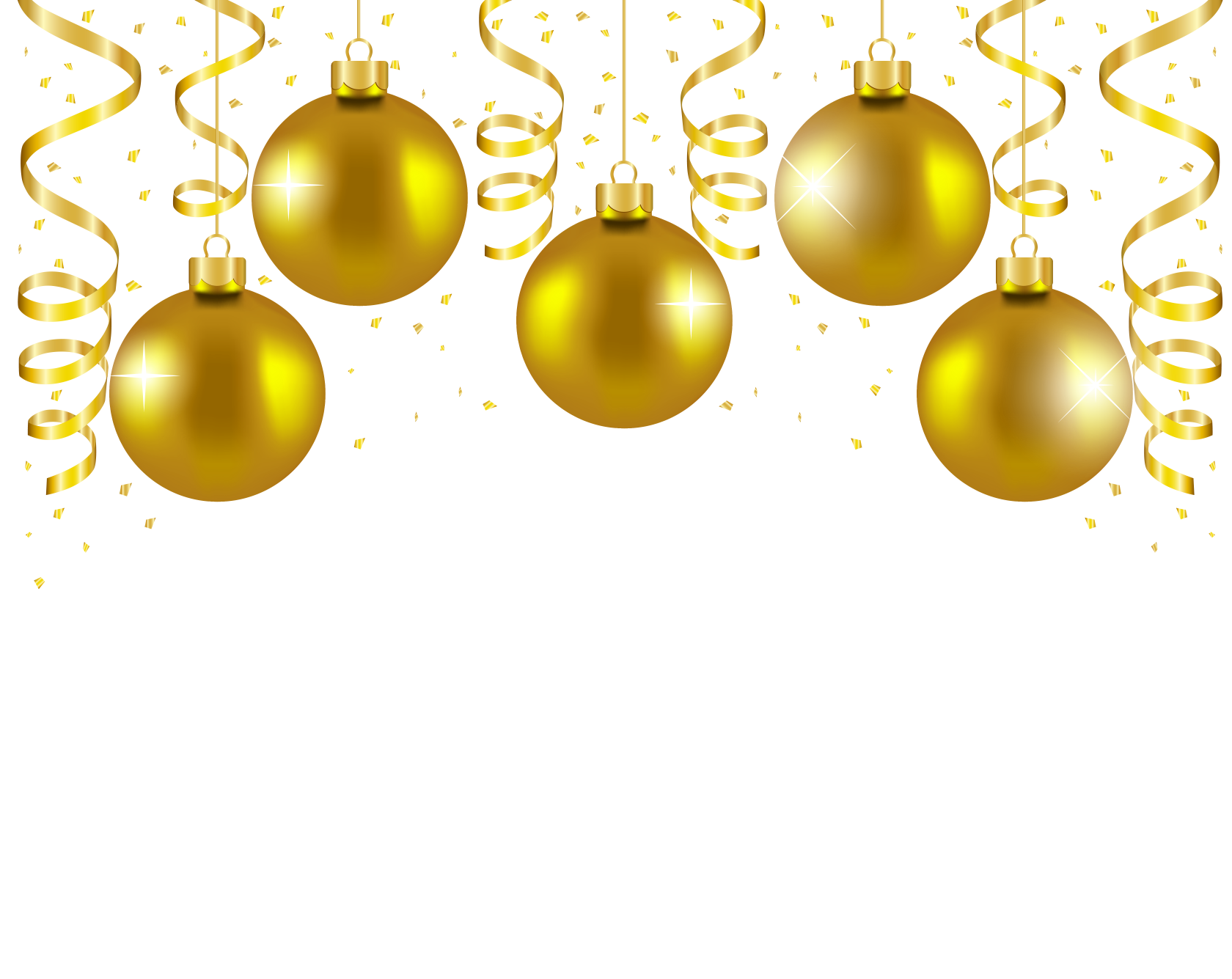 Gold christmas ornaments png. Transparent balls decor picture