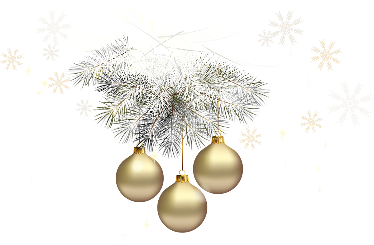 Gold christmas ornaments png. Transparent balls with silver