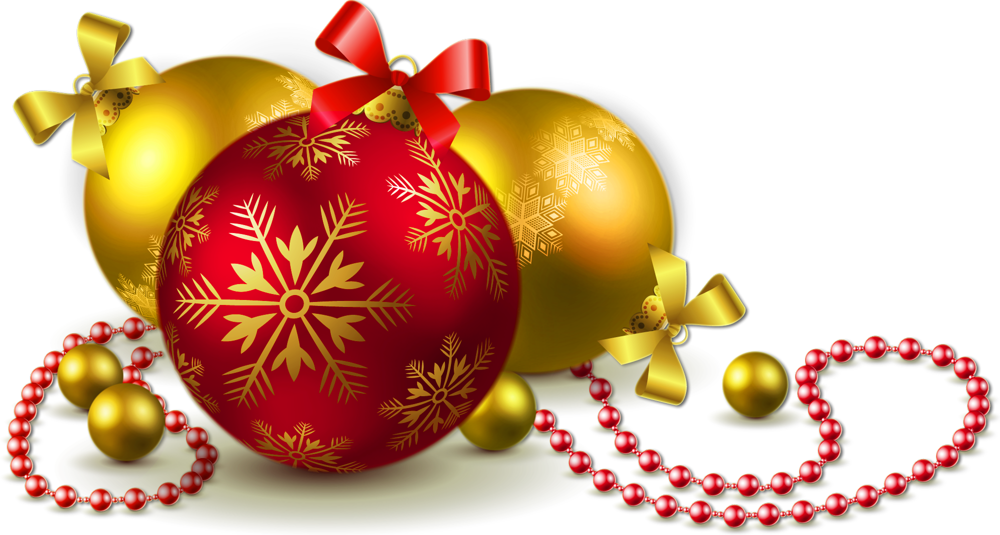 Gold christmas ornaments png. And red transparent balls