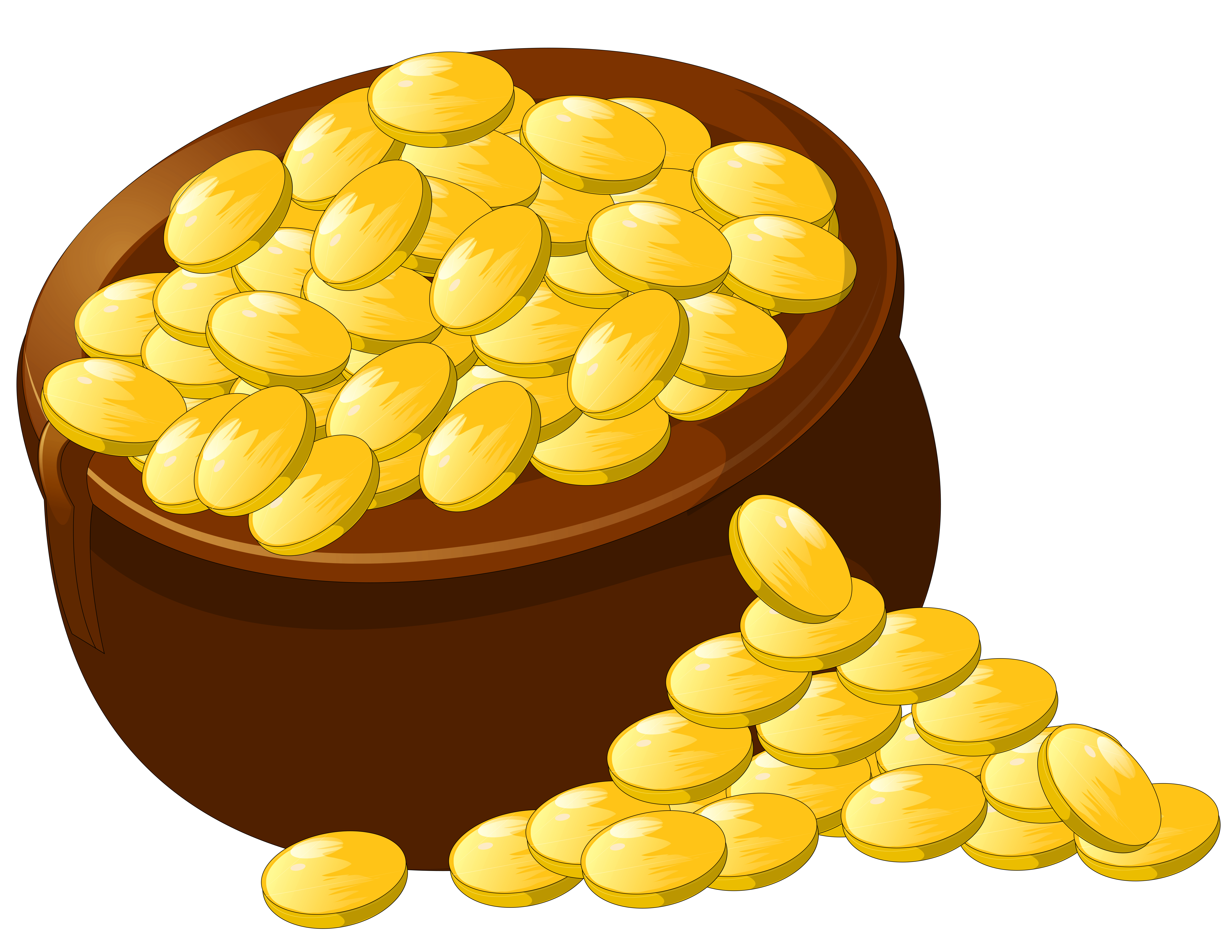 Gold clipart. Transparent pot of png