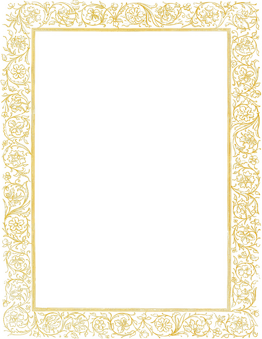Gold clipart boarder. Victorian floral border baby