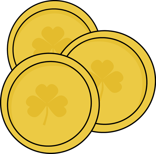 St patricks day coin. Gold clipart vector black and white library