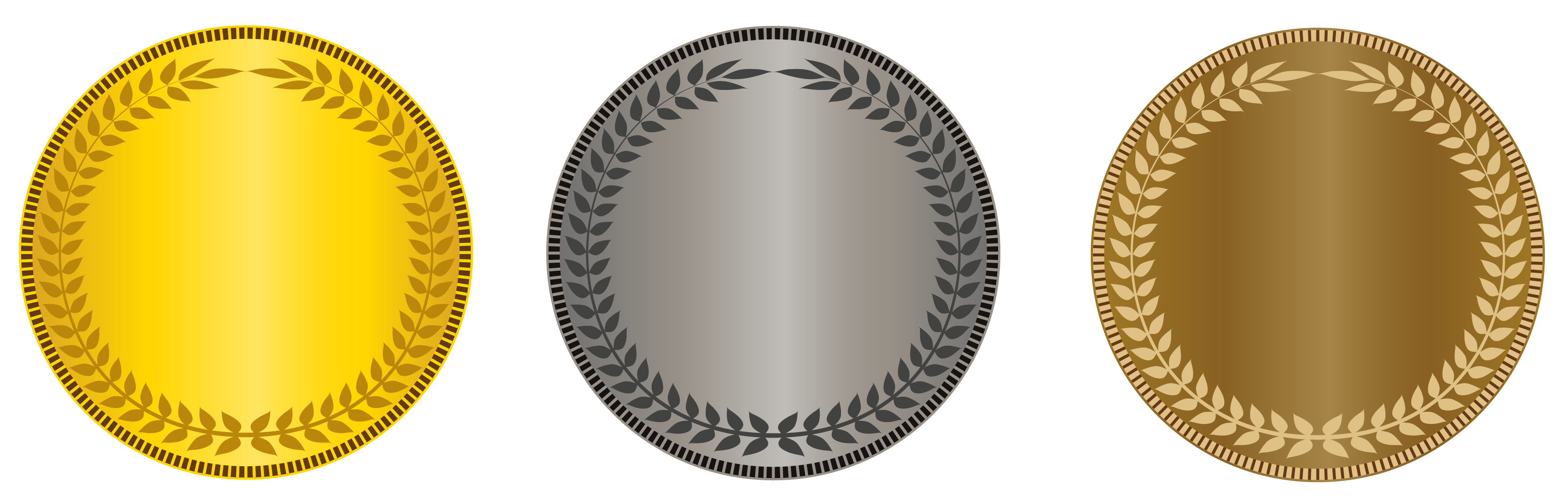 Gold clipart gold silver. Transparent bronze medals png