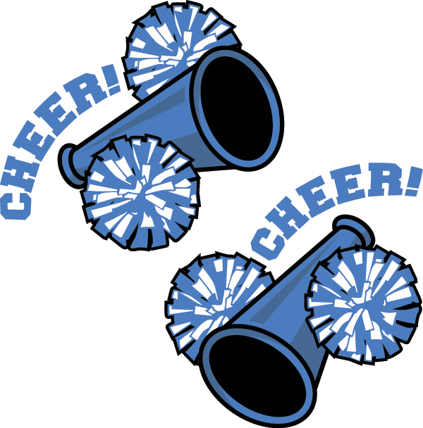 Pom pom clipart printable. Blue and gold cheerleading
