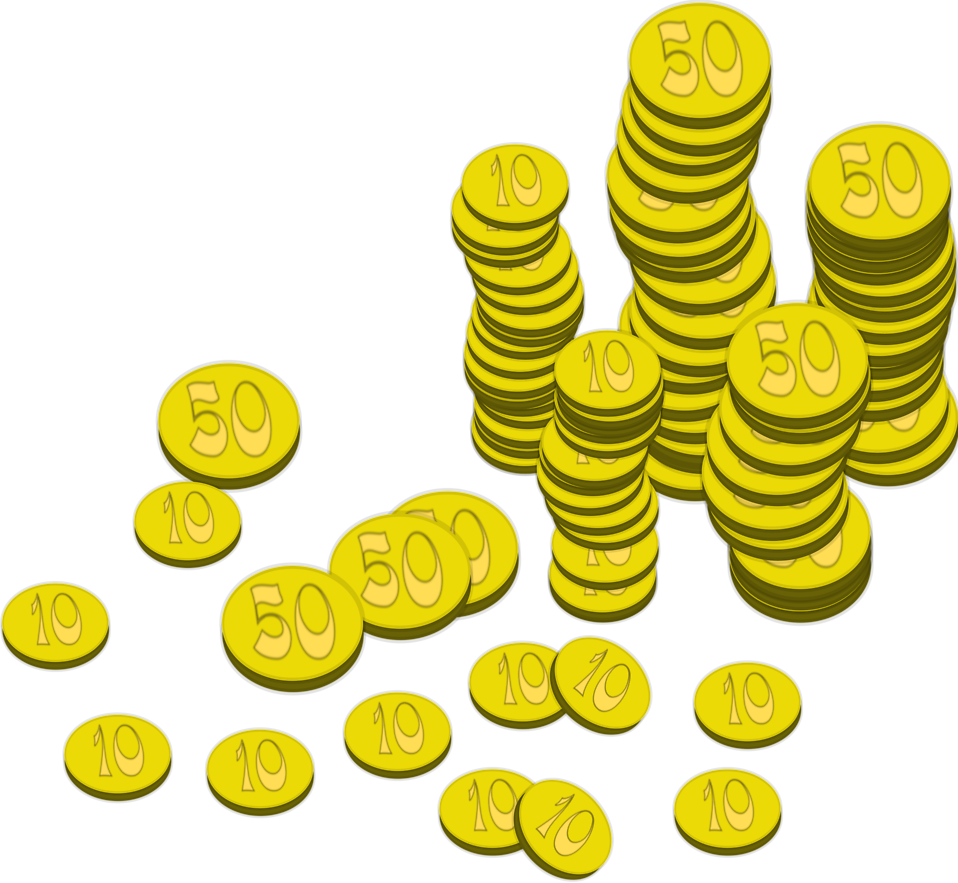 Gold coins falling png. Free stock photo illustration