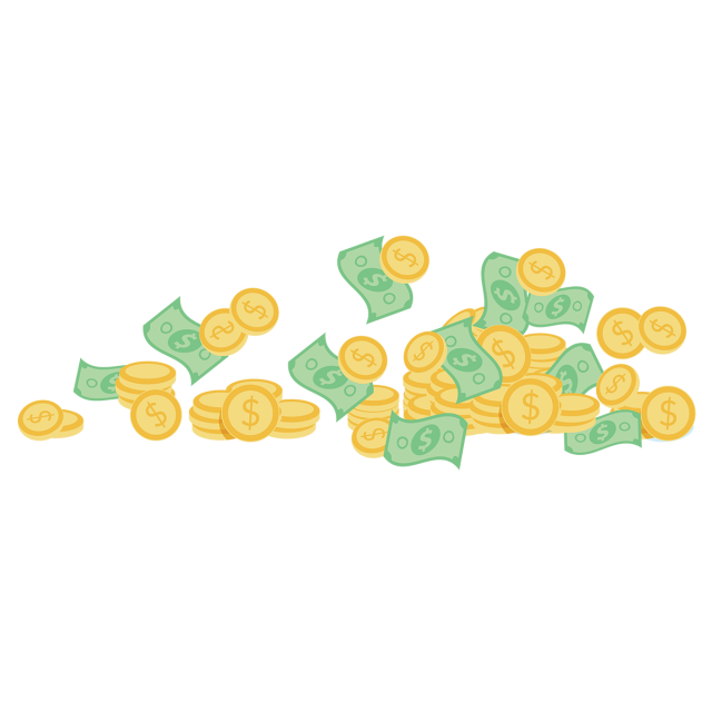 Vector coins gold. Money with dollers isometric