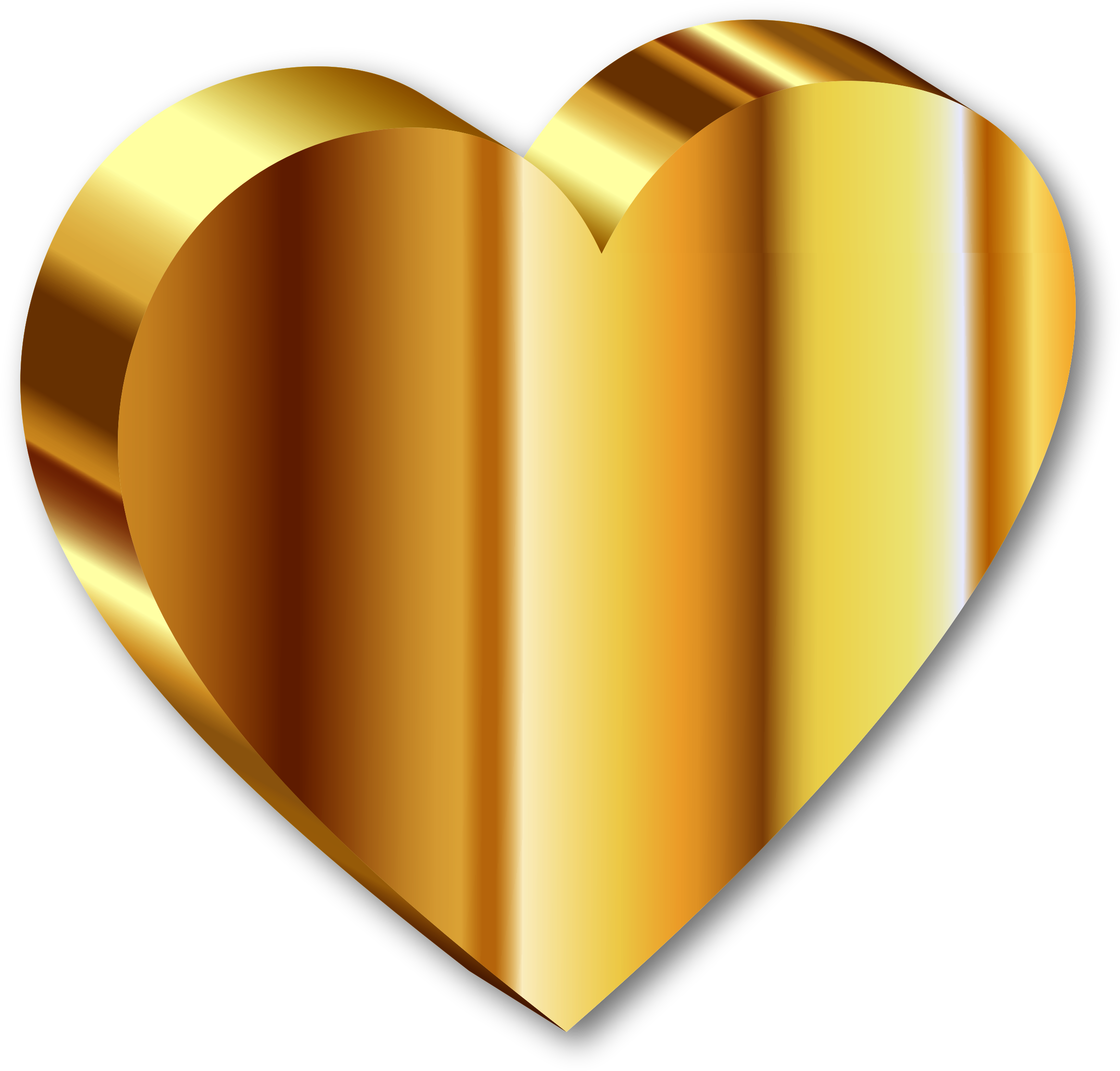Gold color png. D heart of
