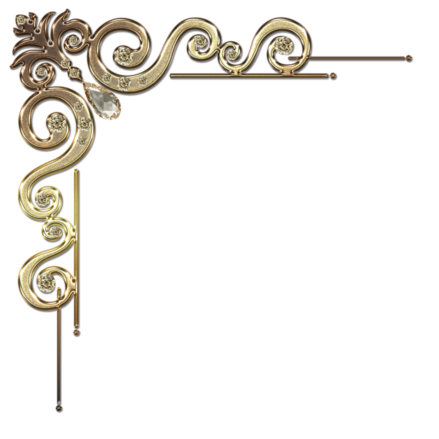 Gold corner border png. Decorative with citrine in