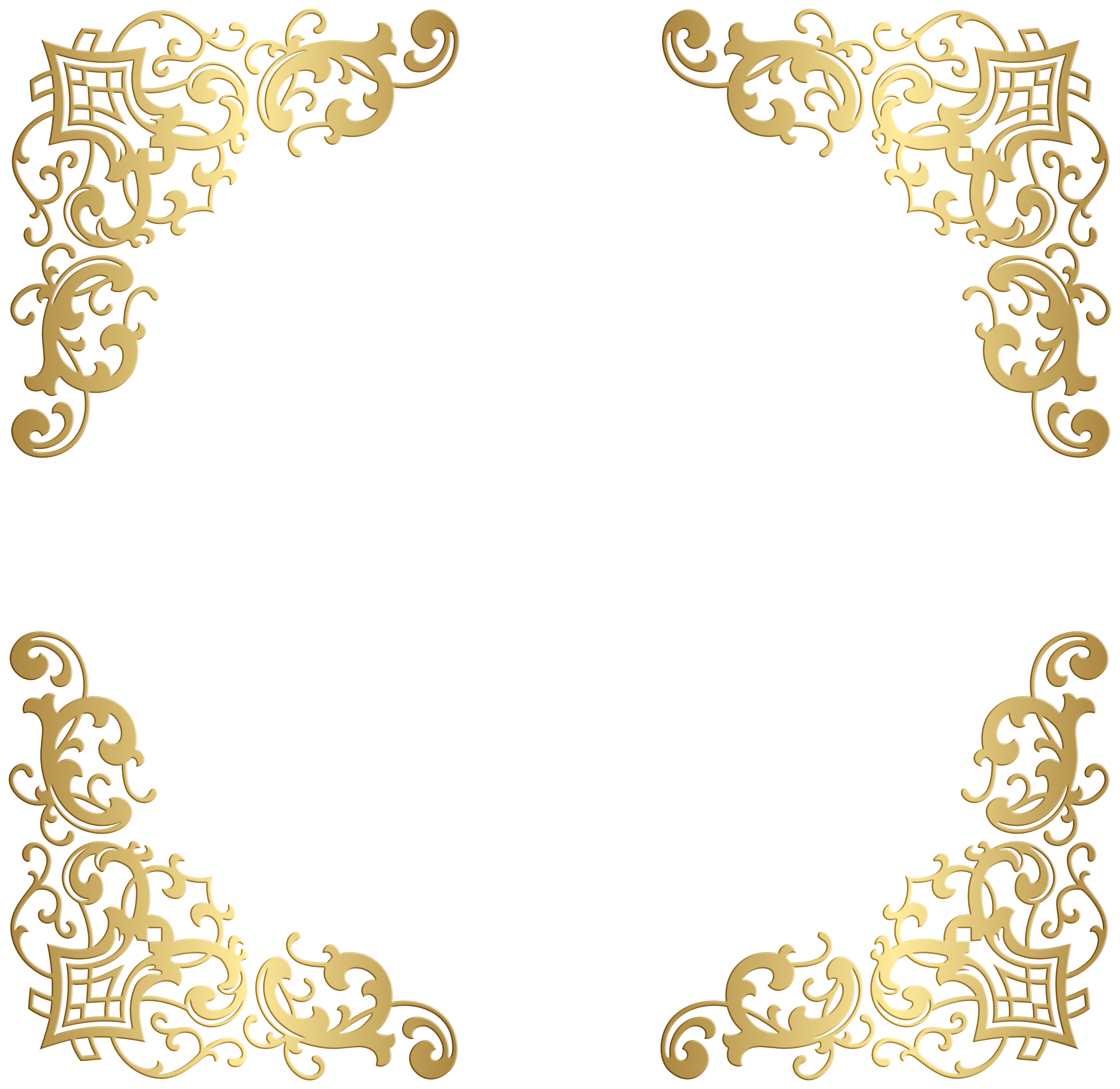 Decorative corners transparent clip. Gold corner border png png black and white library