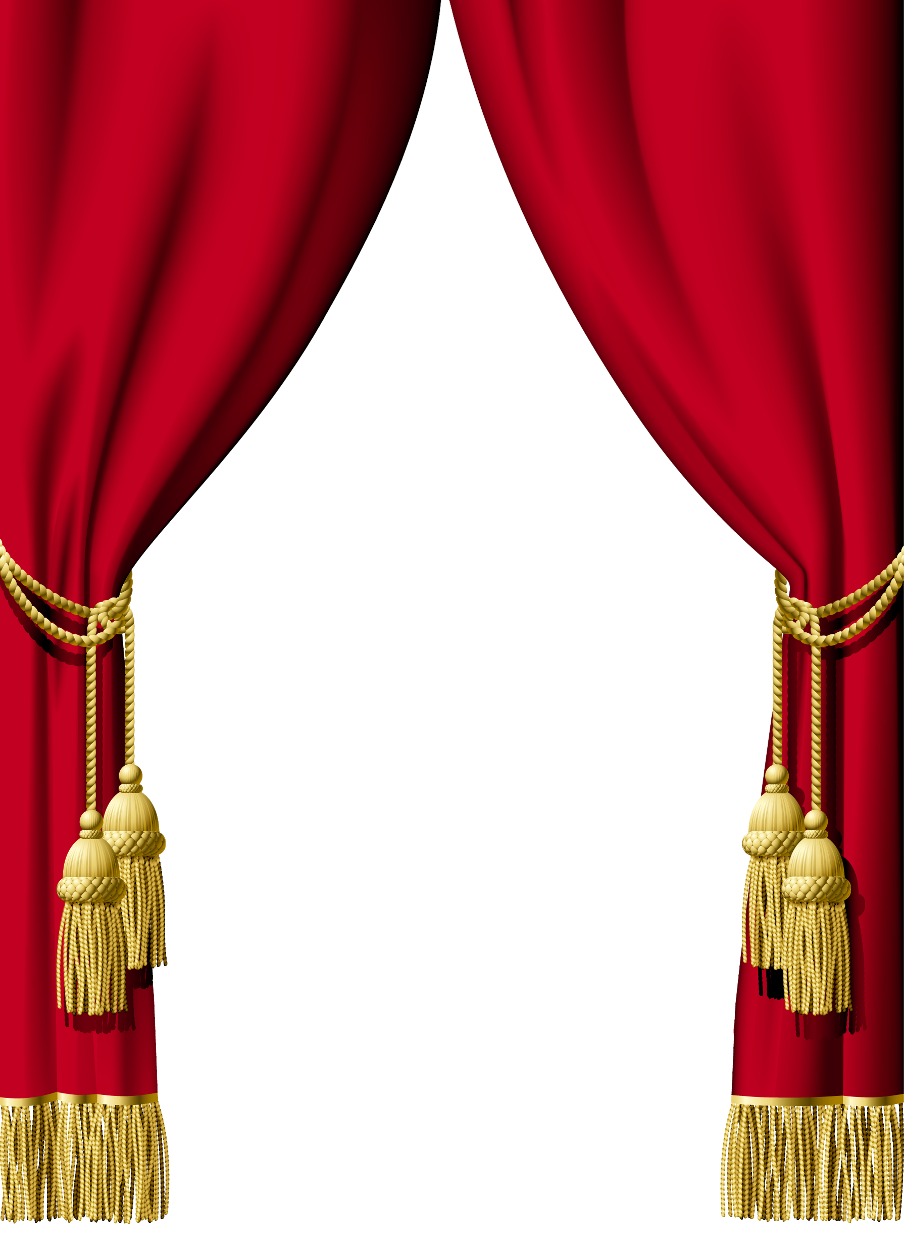 Gold curtain png. Red decoration clipart gallery