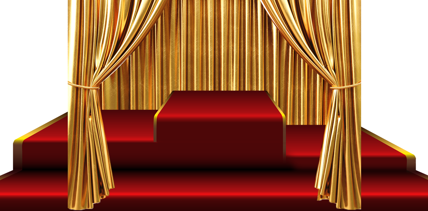 Stage transparent gold. Curtain red carpet transprent