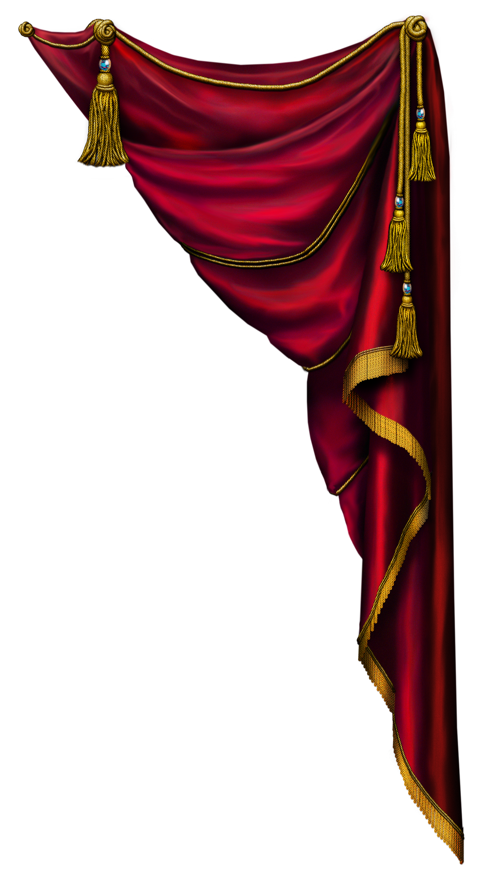 Gold curtains png. Transparent red curtain clipart