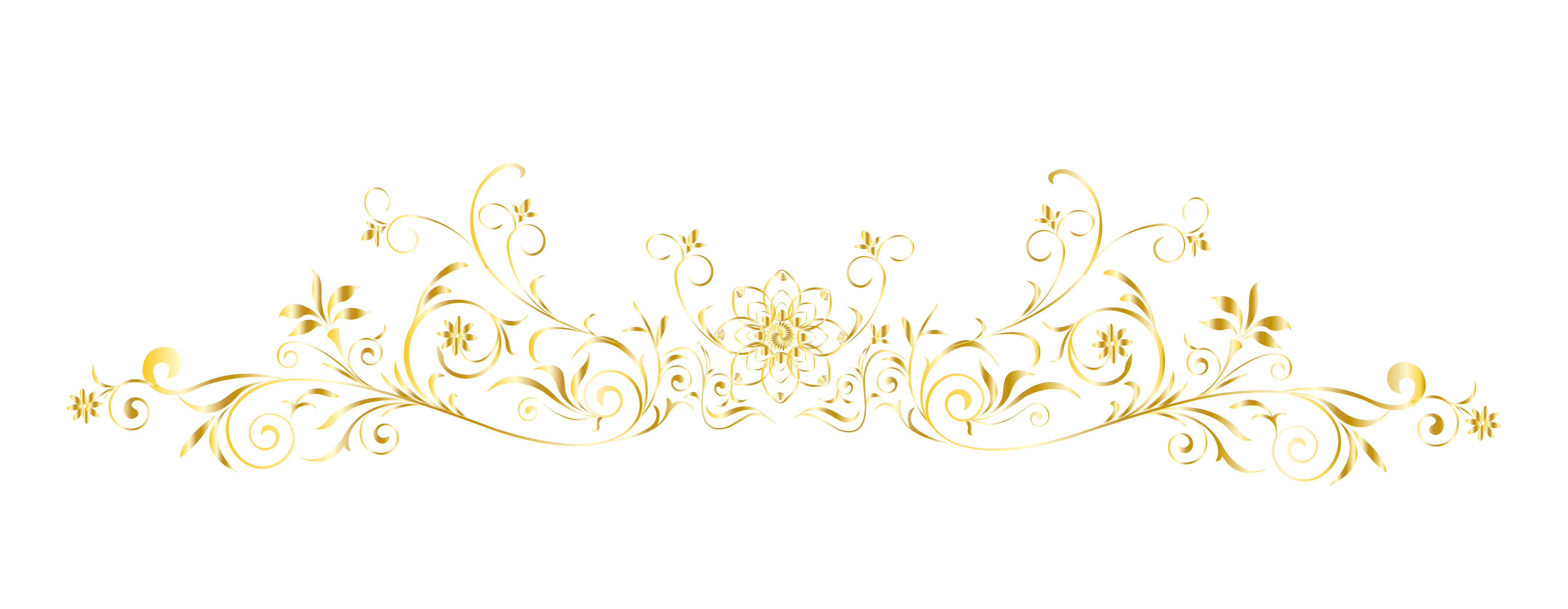 Floral lines png. White pattern european gold