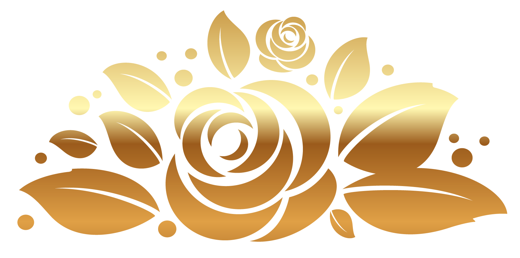 Rose decor clipart picture. Gold design png free library
