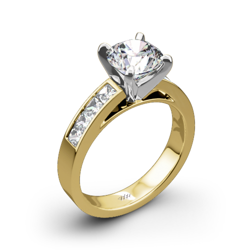 Gold diamond png. Channel set engagement ring