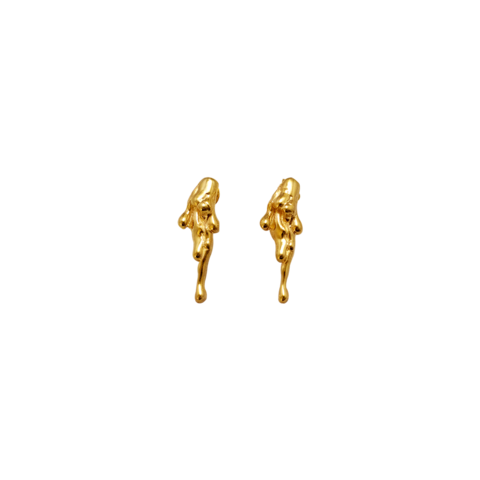 Gold drip png. Fortune frame dripping earrings