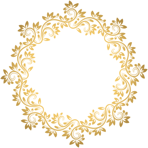 Vector glitter round. Gold deco border png