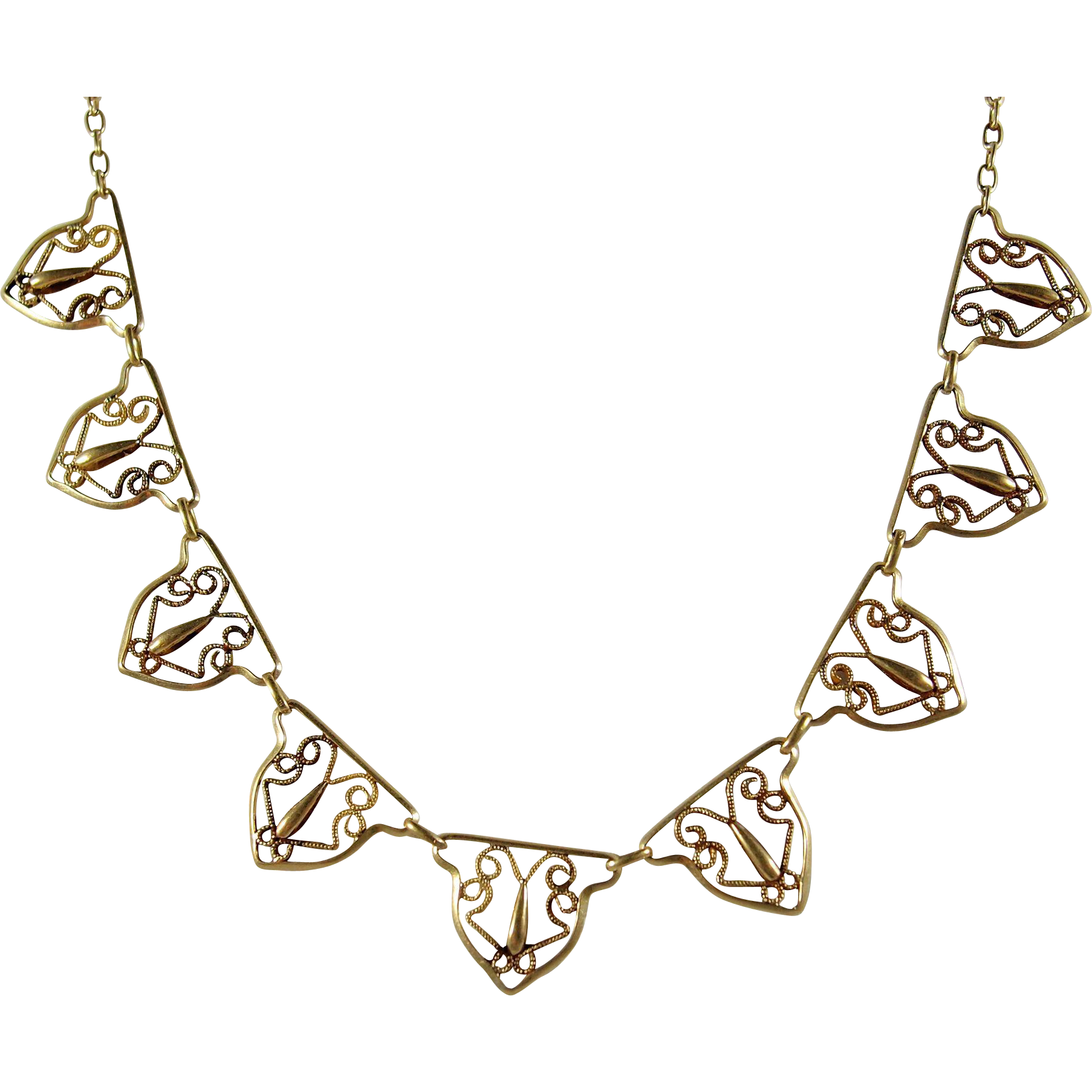 Gold filigree png. S solid necklace