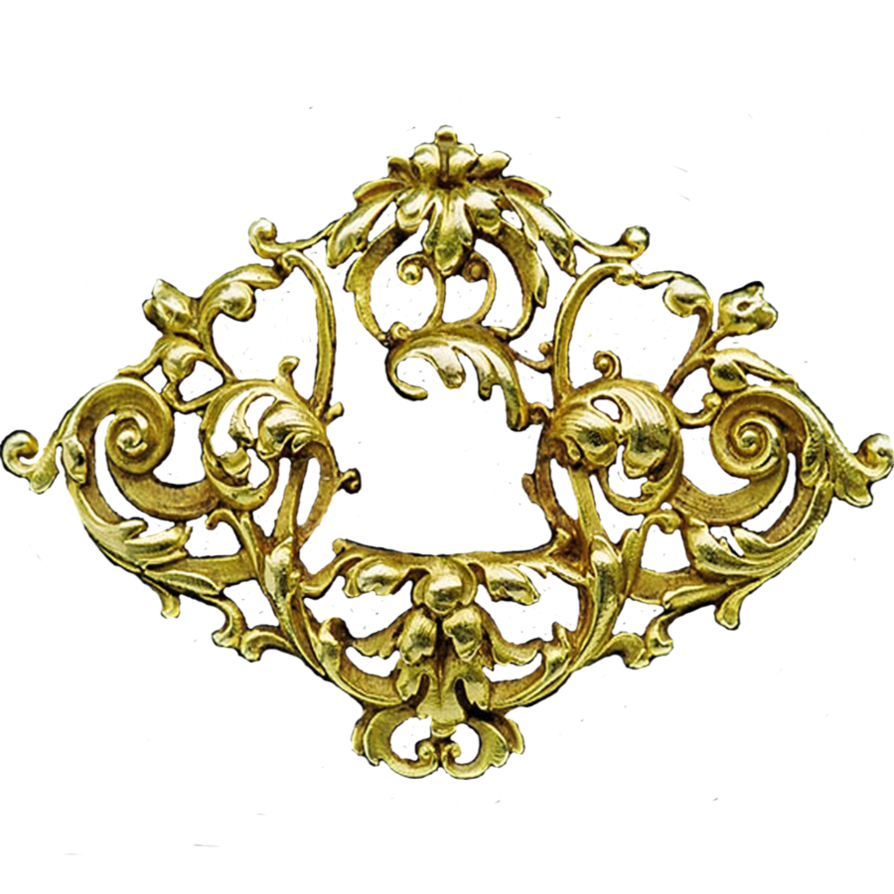 Gold filigree png. Art nouveau badge jewelry