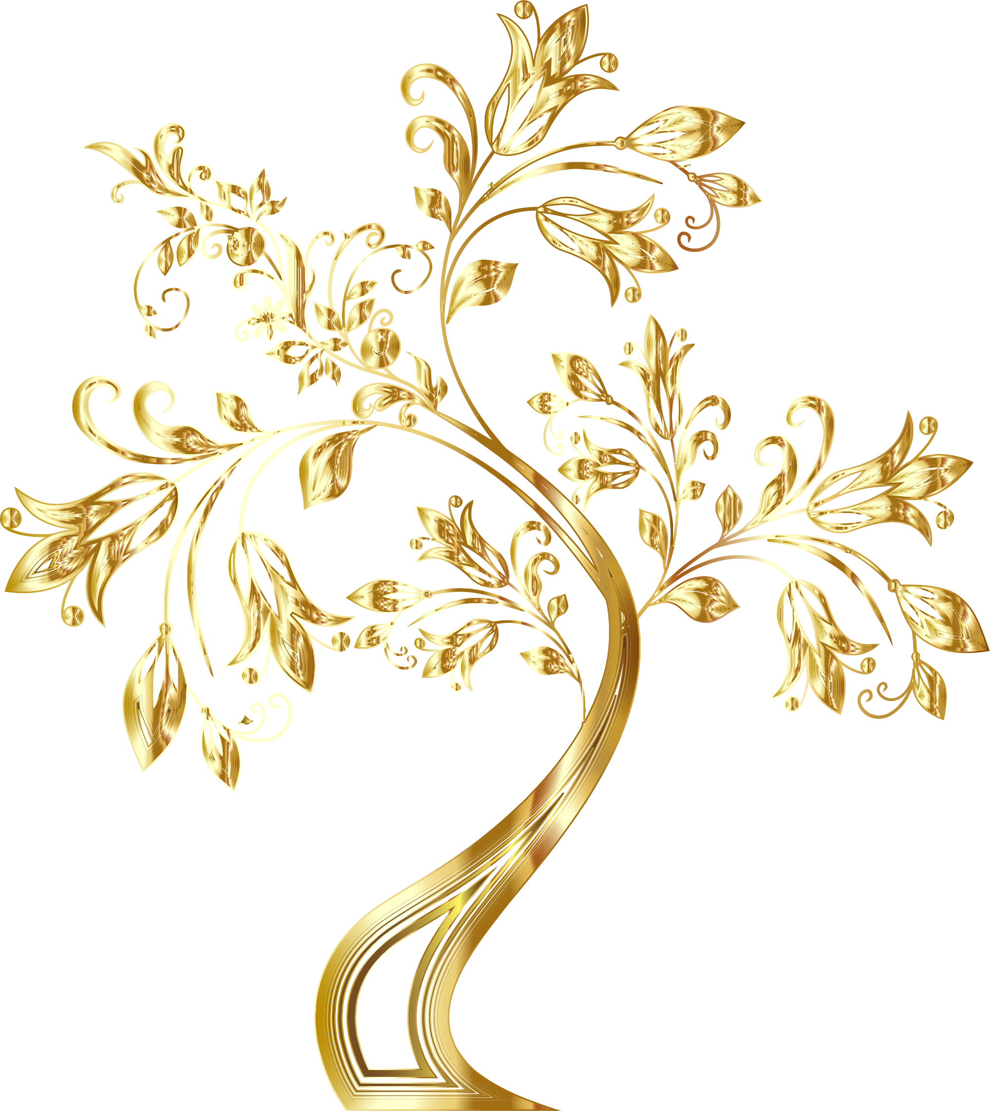 Gold floral png. Clipart tree supplemental big