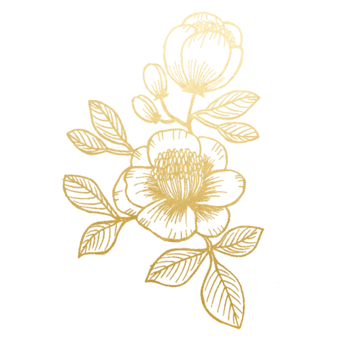 Gold floral png. Temporary tattoo set anders