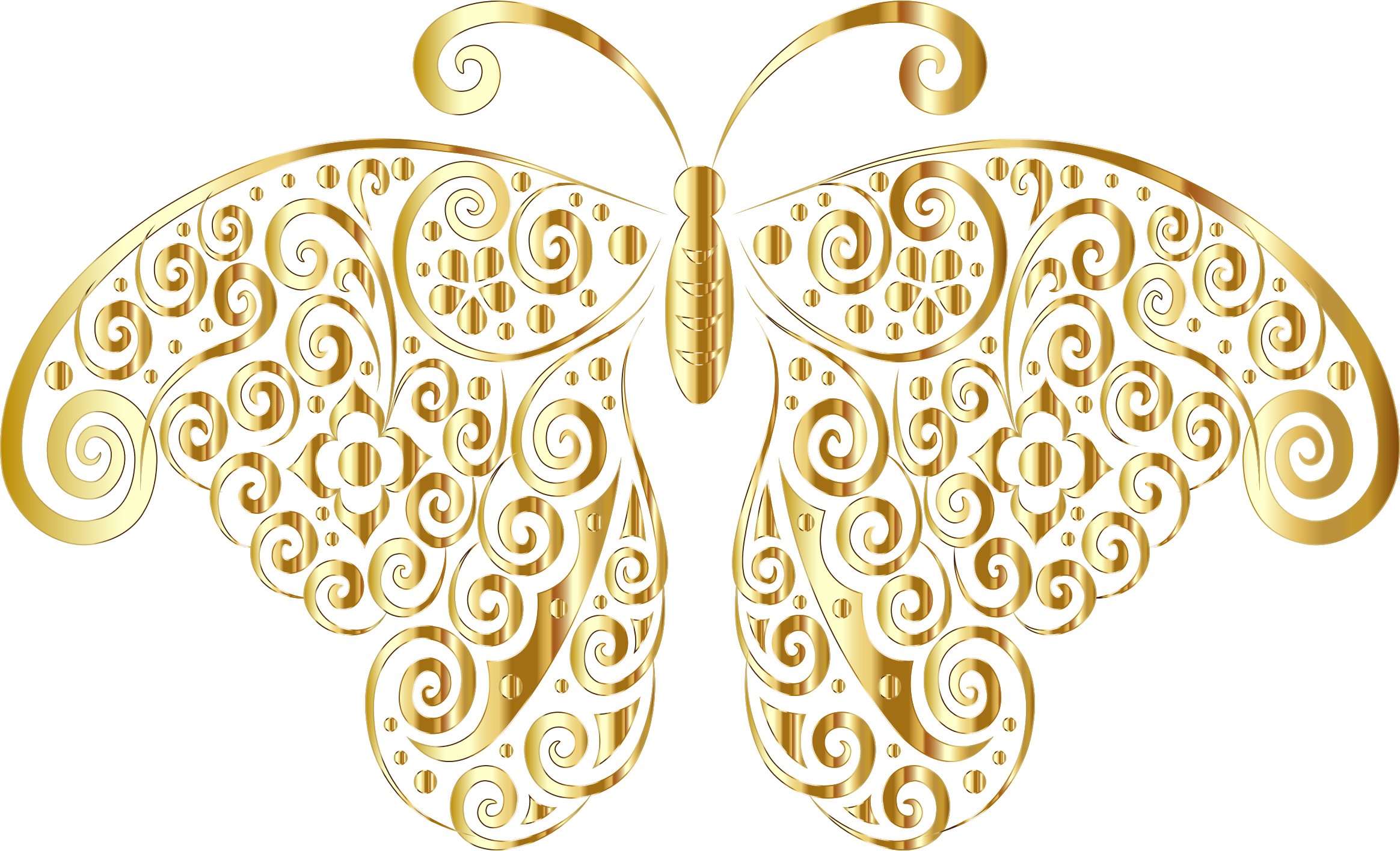 Gold flourish png. Floral butterfly silhouette no