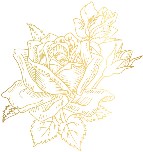 Gold flower png. Deco rose clip art