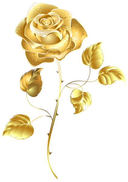 Gold flower png. Beautiful rose clip art