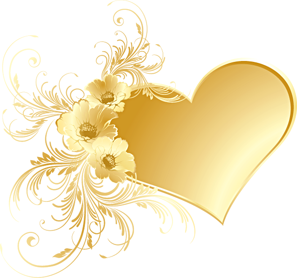 Golden flower png. Gold heart with flowers