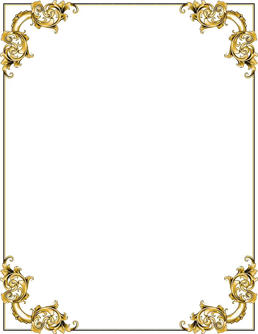 Gold frame border png. Transparent