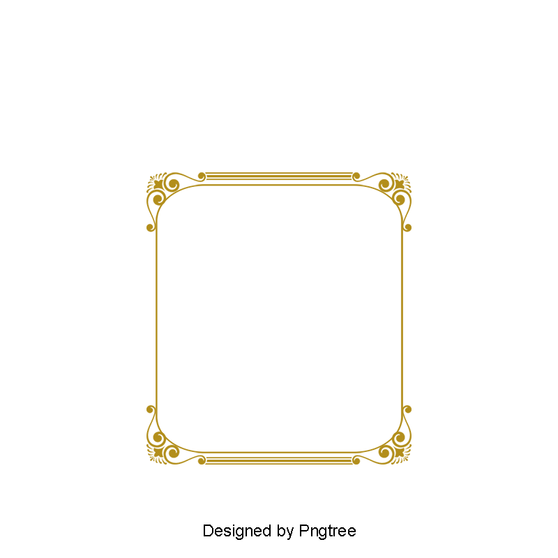 Gold frame png vector. Ancient box and psd