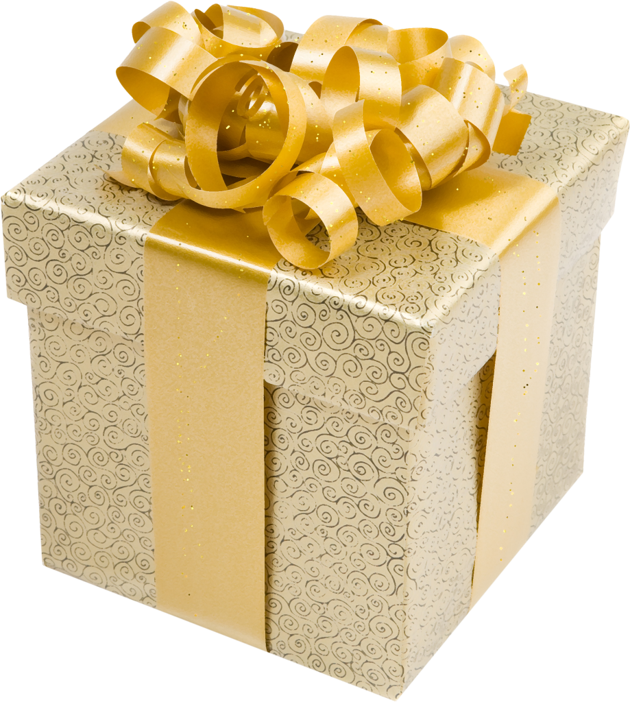 Gold gift bow png. Cream present box with