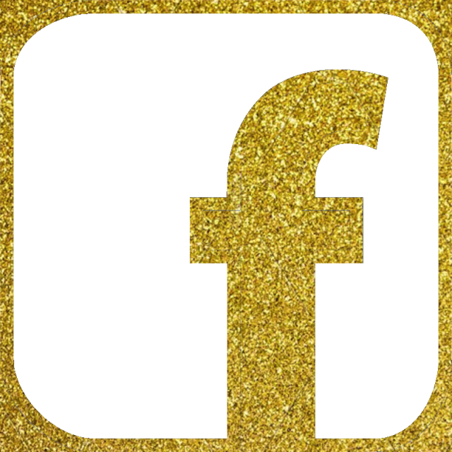 Gold glitter banner png. Facebook icon vector color