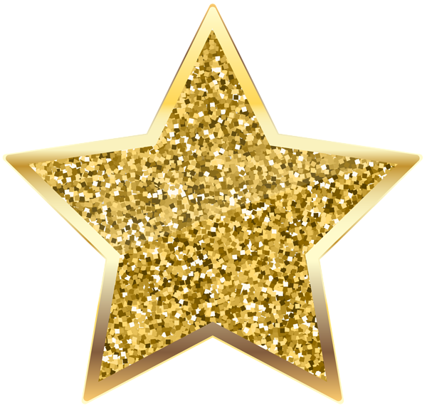 Gold glitter star png. Golden deco transparent clip