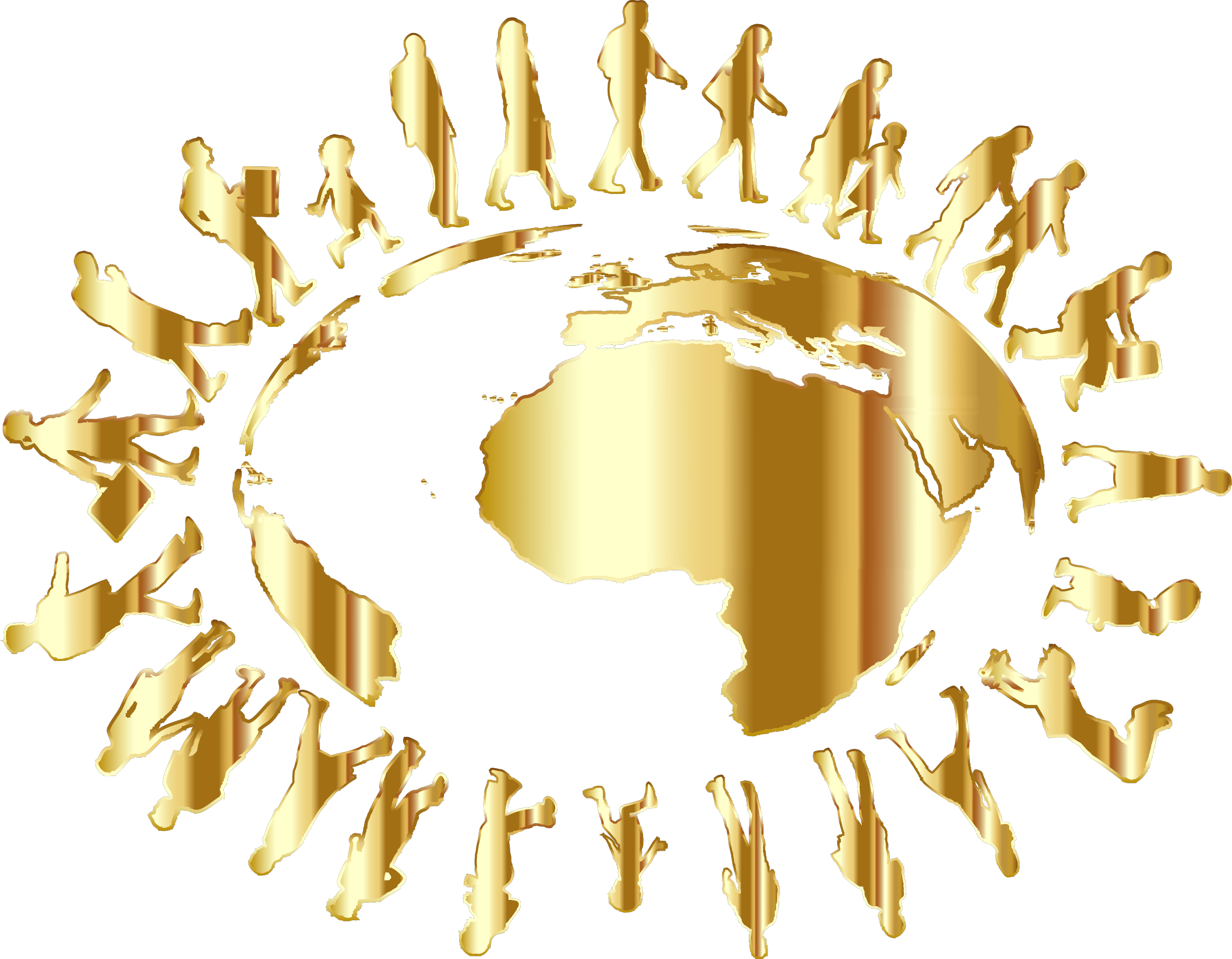 Gold globe png. Clipart people circling around