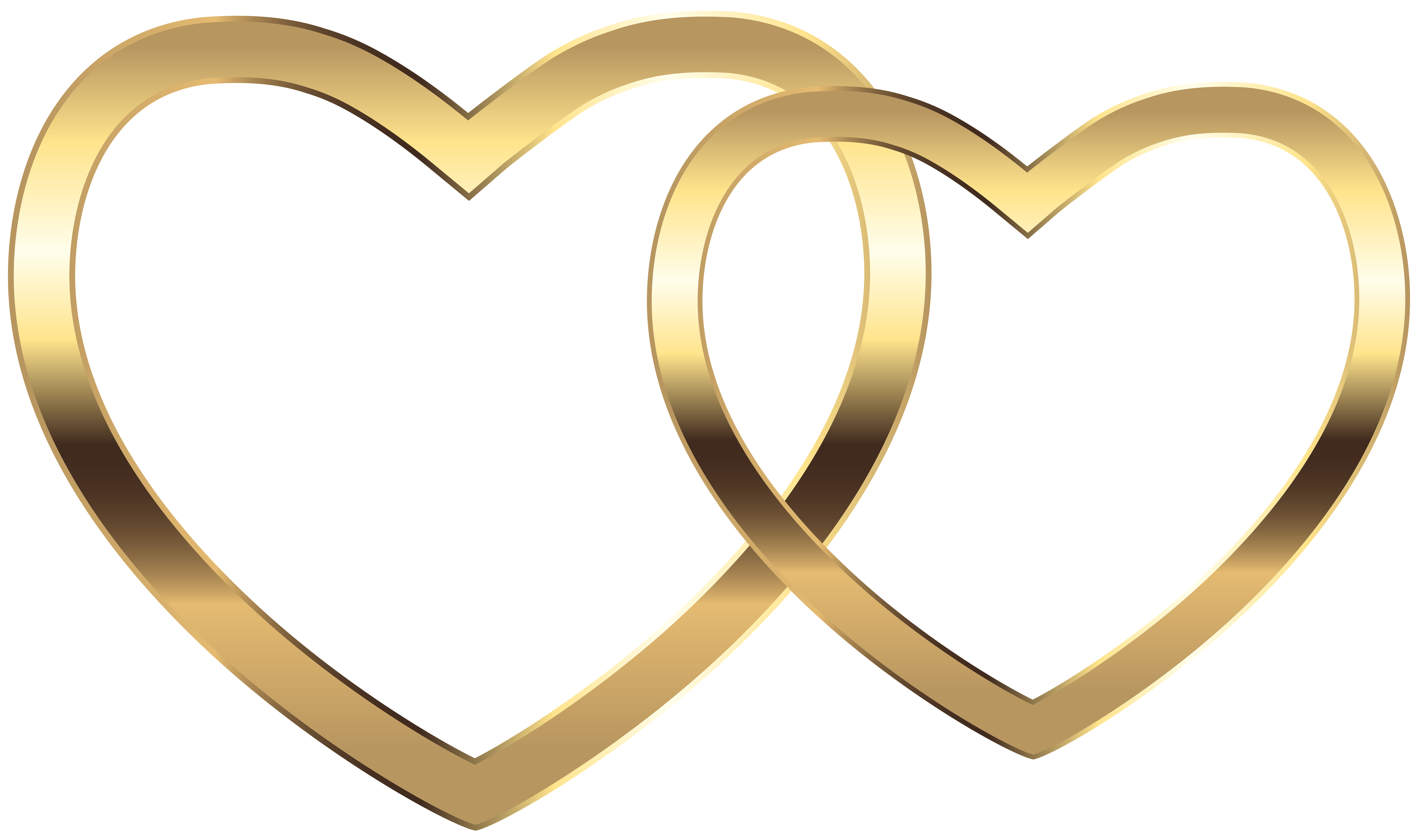 Gold heart png. Transparent two hearts clip