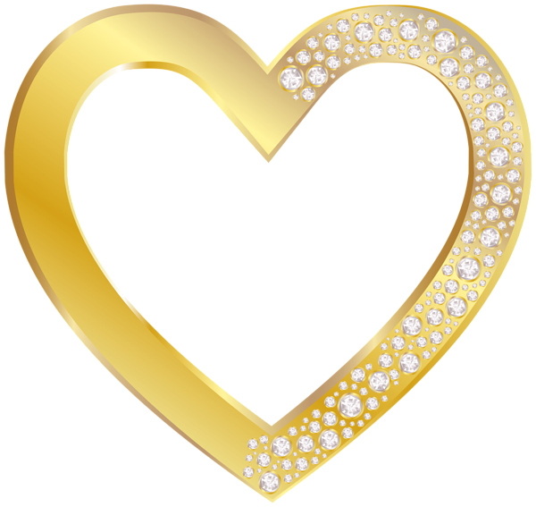 Gold heart png. With diamonds clip art