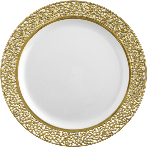 Gold lace border png. White dinner plates with