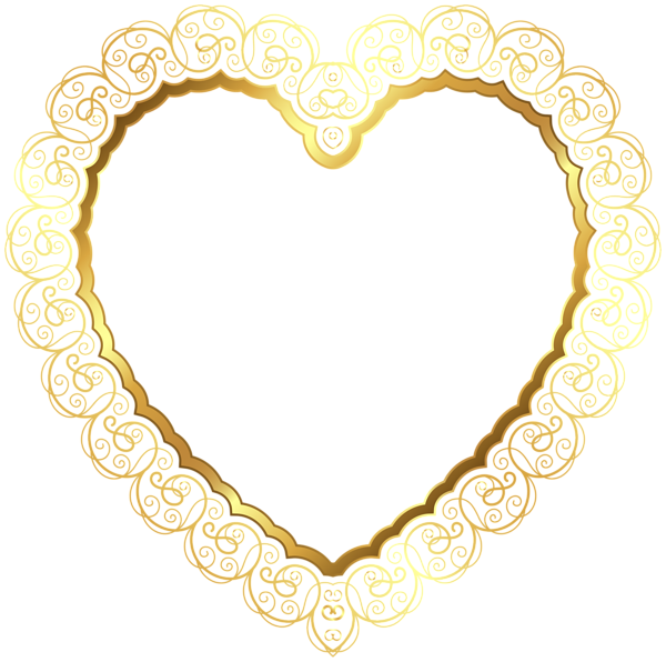 Gold lace border png. Heart decoration frame deco