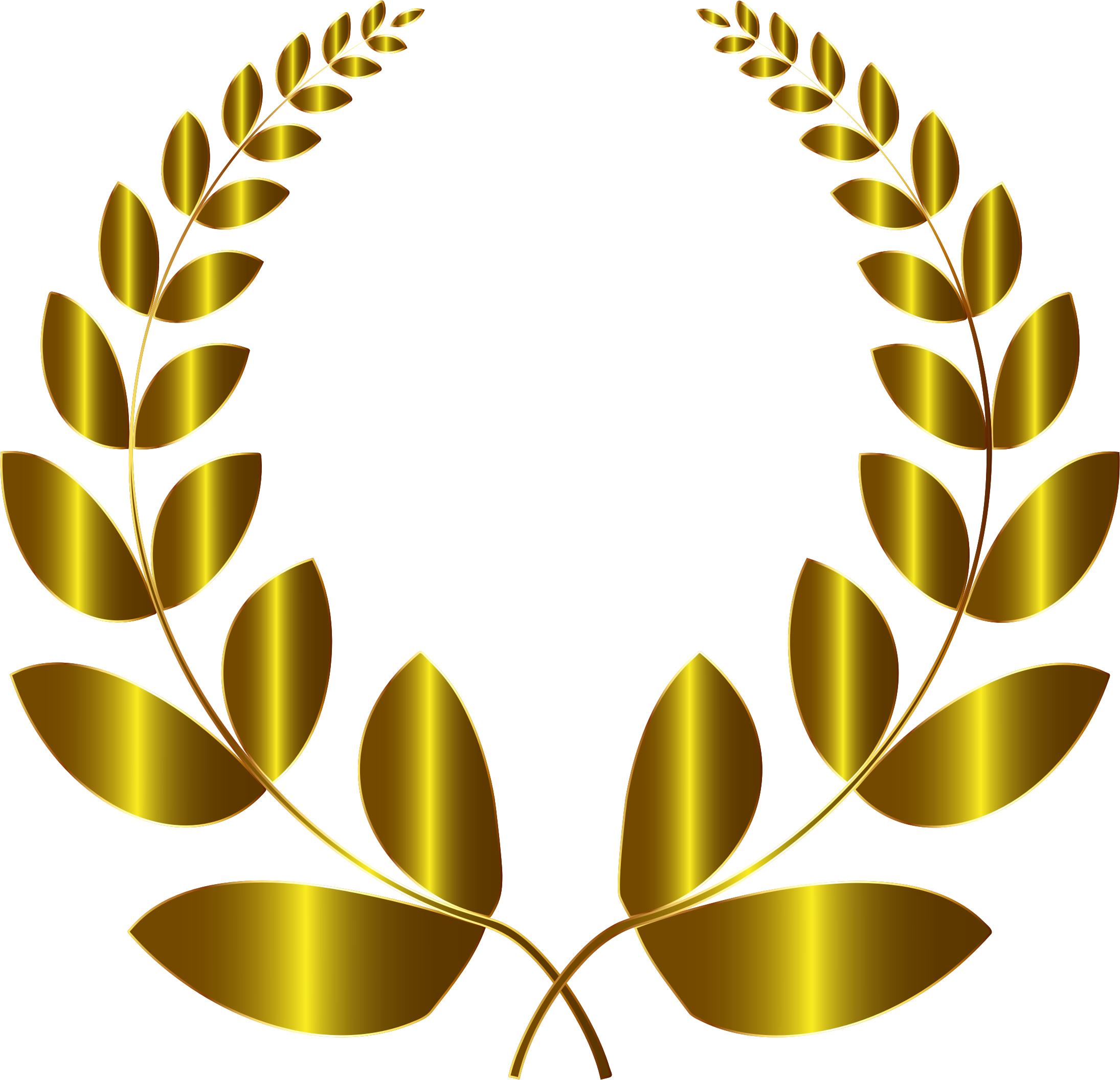 Gold laurel wreath png. No background icons free