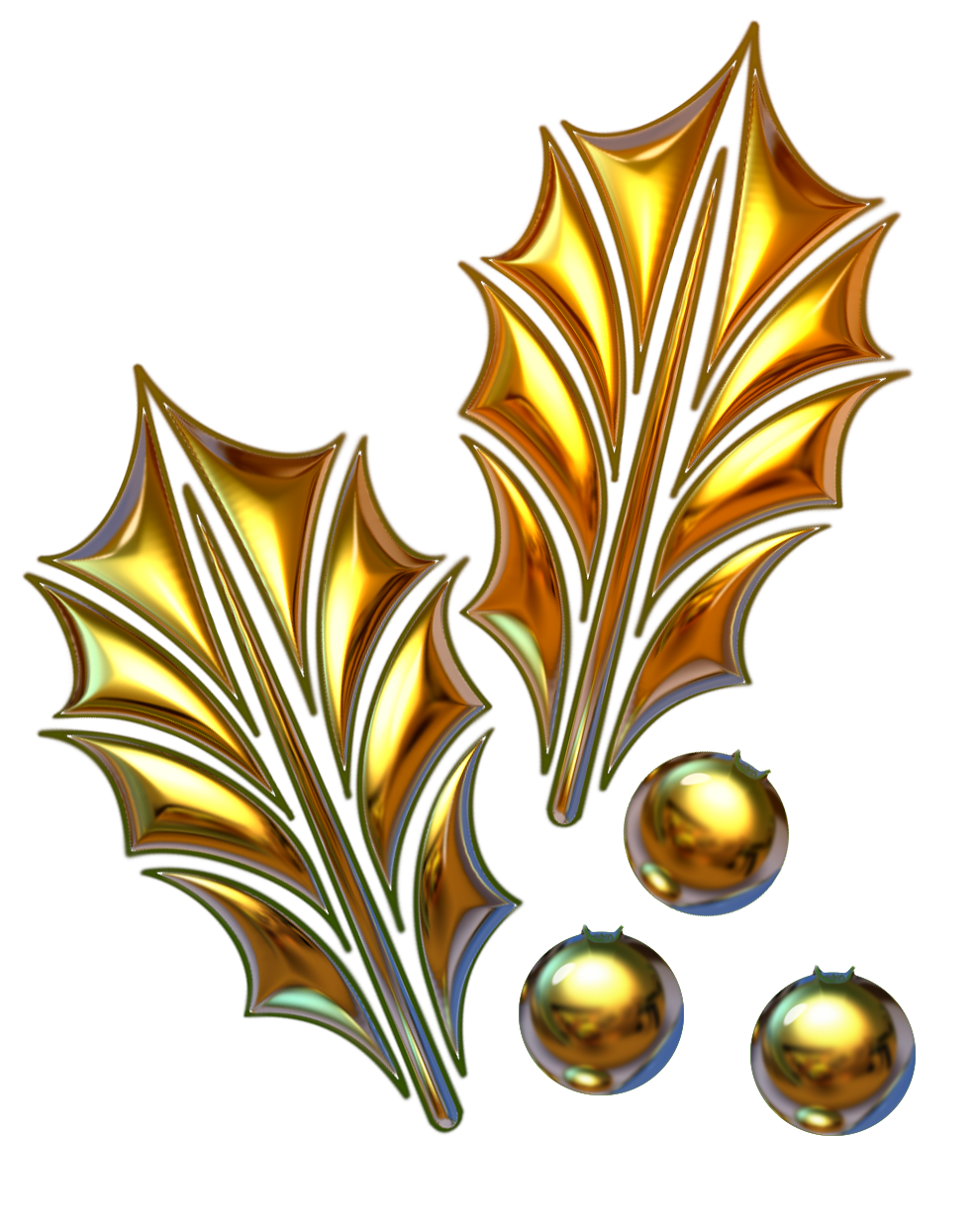 Gold leaves png. File christmas theme ilex