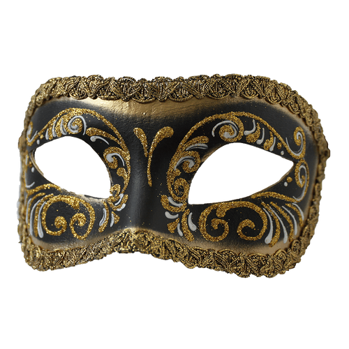 Half masquerade mask invitations png. Colombina black gold express